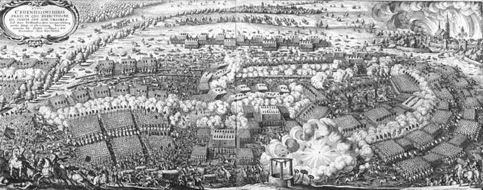 Abb. 2: Abbildung der Schlacht so bey Lützen den 6. Novemb. 1632. Geschechen von Matthäus Merian dem Älteren. »Theatrum Europaeum« (1633). © Herzog August Bibliothek Wolfenbüttel [70.B Hist.2°].