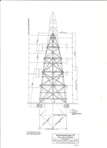 Abb. 29: Rekonstruktion eines Vermessungsturmes. © Archiv des Landesamts für Vermessung und Geoinformation Sachsen-Anhalt.