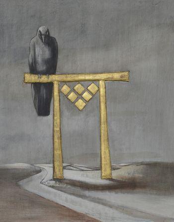 Abb. 3: Detailansicht eines Büstenbildes mit der Darstellung eines Rabens. © Landesamt für Denkmalpflege und Archäologie Sachsen-Anhalt, Gunnar Preuß.