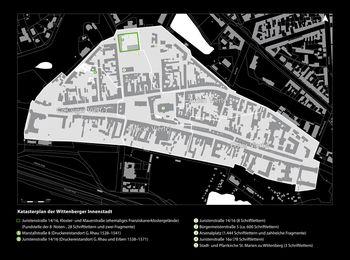 Abb. 4: Katasterplan der Wittenberger Innenstadt mit Fundstellen von Bleilettern und ausgewählten Druckereistandorten. © GeoBasis-DE / LVermGeo LSA, 2013, 010213; © Landesamt für Denkmalpflege und Archäologie Sachsen-Anhalt, Brigitte Parsche.