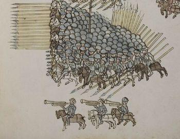 Abb. 11: Trompeter im Kriegseinsatz. Aus dem Kriegsbuch von Philipp Mönch, Heidelberg 1492.