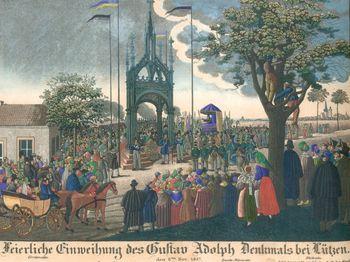 Abb. 17: Postkarte zur Erinnerung an die Weihe des Schinkel Baldachins über dem Schwedenstein in Lützen im Jahr 1837.