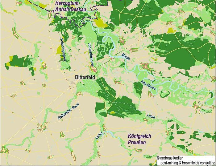 Abb. 1: Das Muldetal bei Bitterfeld im Jahr 1846, Kartenausschnitt. © A. Kadler, post-mining & brownfields consulting, Berlin.