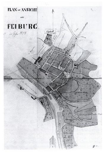 Abb. 1: Grundriss von Freyburg, 1858. Ebert u.a. 2003, 18 Abb. o. Nr.