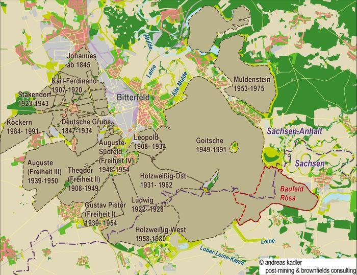 Abb. 2: Das Braunkohlenabbaugebiet um Bitterfeld in den Jahren 1850 bis 1991; Kartenausschnitt. © A. Kadler, post-mining & brownfields consulting, Berlin.
