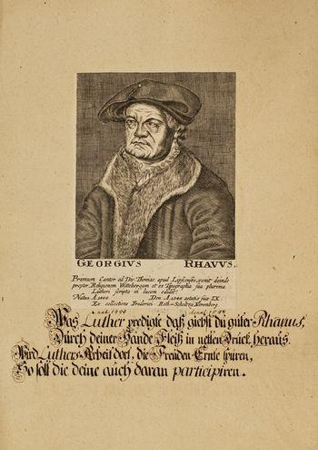 Abb. 7: Georg Rhaw (Rhau), Kupferstich, circa 1727. © Franckesche Stiftungen, Halle.