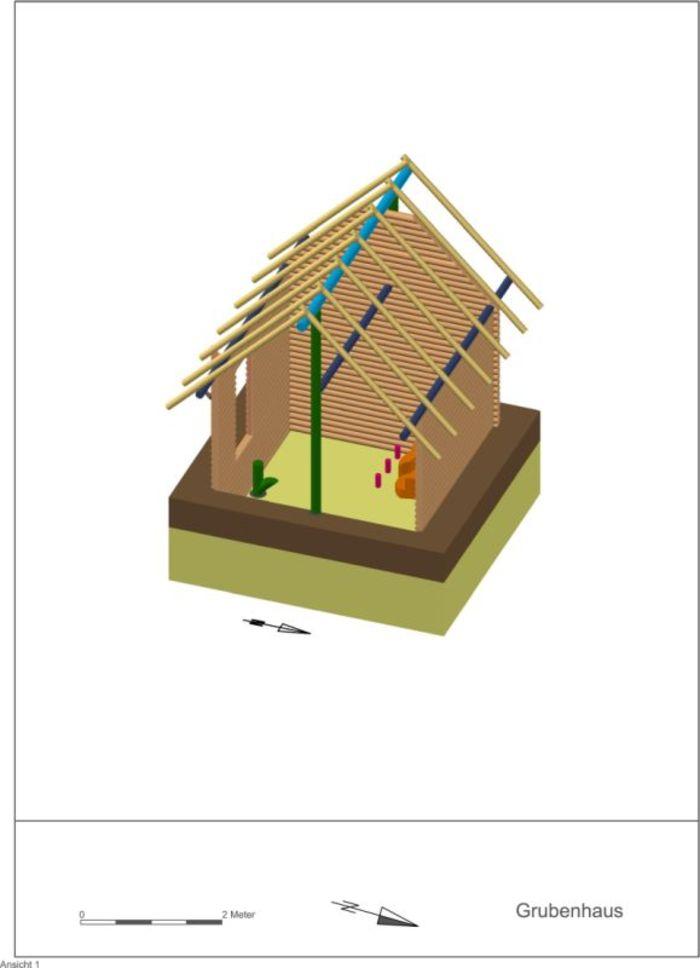 Abb. 13: Rekonstruktion eines mittelslawischen Grubenhauses vom 2+1-Pfostentyp mit optionalem eingezogenen Dachboden. © Landesamt für Denkmalpflege und Archäologie Sachsen-Anhalt, A. Hinz.