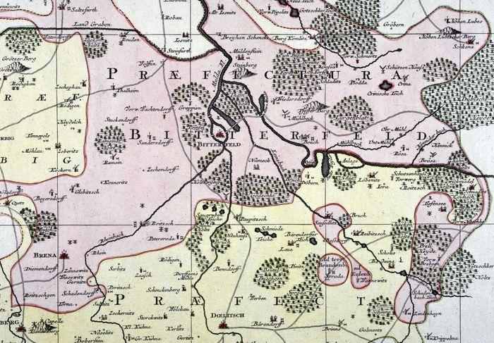 Abb. 4: Das Muldetal bei Bitterfeld (Kartenausschnitt aus: Descriptio Geographica Praefecturarum Doelitsch, Bitterfeld, Zoerbig – alt-grenzkolorierter Kupferstich von. T.C. Lotter nach M. Seutter (Augsburg), um 1750. © Landesamt für Denkmalpflege und Archäologie Sachsen-Anhalt, Archivsignatur 2005/9.