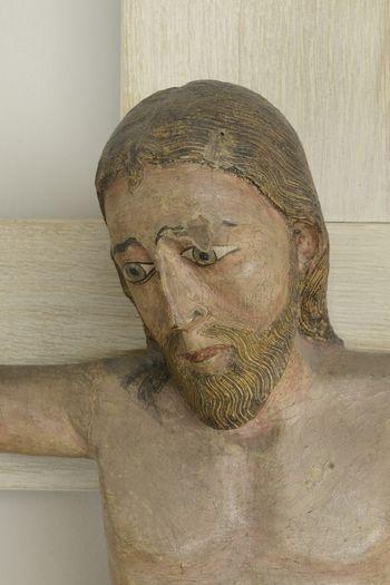 Abb. 2: Detailansicht des Gesichts Christi. © Landesamt für Denkmalpflege und Archäologie Sachsen-Anhalt, Gunnar Preuß.