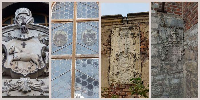 Abb. 5: In Schauen sind bis heute mehrere Wappen der Reichsherren zu Schauen erhalten geblieben: 1. – Am Hintereingang der Gutskirche, dem früheren Eingang vom Gutshof; 2. – Bleiverglasung in der Gutskirche; 3. – Am Eingang zum Gusthof (1770); 4. – Wappen des Herzogs von Braunschweig-Lüneburg (1648 bis 1689) an einem weiteren Eingang zum Gutshof. © Christian Schirbel.