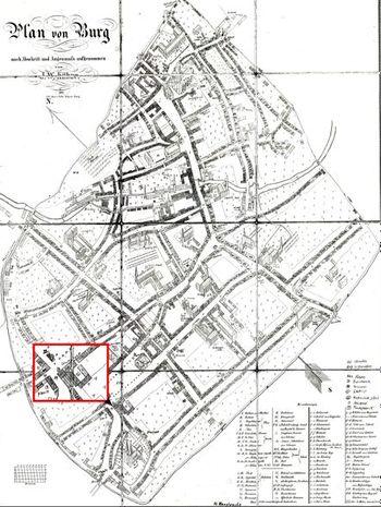 Abb. 1: Die Lage der Schankwirtschaft in der Unterstadt von Burg bei Magdeburg, Plan aus der Mitte des 19. Jahrhunderts. Kühne 1852.