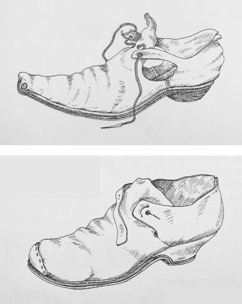 Abb. 9: Rekonstruktionszeichnungen barocker Schuhe, oben circa 1650, unten circa 1725. Goubitz u.a. 2001, 286, Fig. 19 und 291, Fig. 2.
