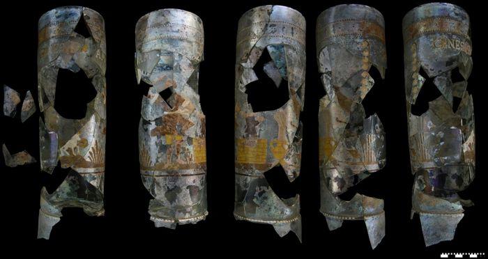 Abb. 1: Der restaurierte Glashumpen aus Wittenberg, verschiedene Ansichten. © Landesamt für Denkmalpflege und Archäologie Sachsen-Anhalt, Vera Keil.