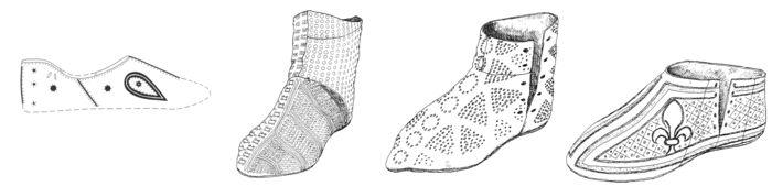 Abb. 3: Mittelalterliche Schuhe mit Bemalung, von links nach rechts: um 1100,13. Jahrhundert, 14. Jahrhundert und spätes Mittelalter. (Schnack 1992, Taf. 16, 2-3; Goubitz 2001, 51, Fig. 20).