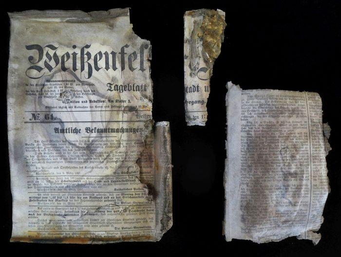 Abb. 14: Eine Ausgabe des »Weißenfelser Kreisblatts« vom Mittwoch, den 17. März. © Landesamt für Denkmalpflege und Archäologie Sachsen-Anhalt, Heiko Breuer.