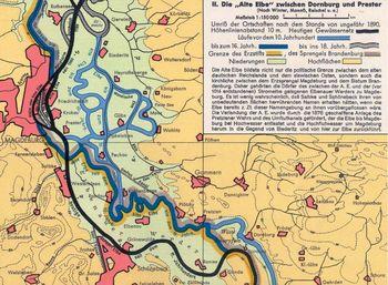 Abb. 2: Die Lage von Magdeburg und Biederitz im nordwestlichen Teil des Kartenausschnitts im Verhältnis zu den alten Elbeläufen. Schlüter/August 1961.