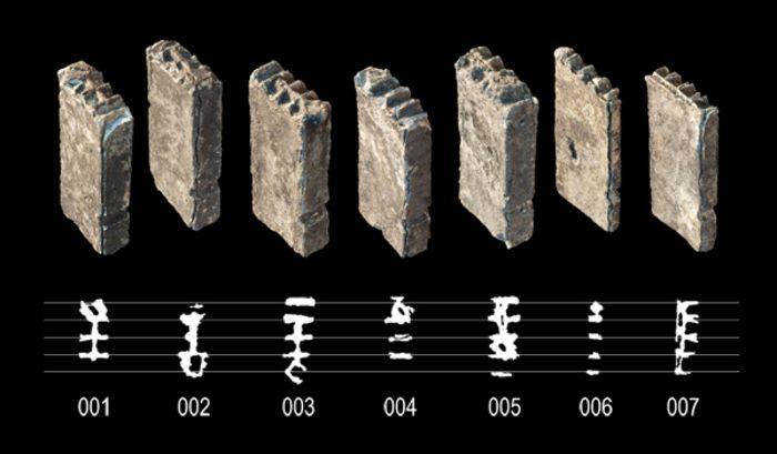 Abb. 3: Sieben Notenlettern und ein Fragment (ehemaliges Franziskanerkloster, 1. Hälfte 16. Jahrhundert). © Landesamt für Denkmalpflege und Archäologie Sachsen-Anhalt, Daniel Berger.