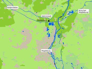 Abb. 1: Lage der Hildagsburg 10 Kilometer nördlich von Magdeburg.  © Landesamt für Denkmalpflege und Archäologie Sachsen-Anhalt, Ottilie Blum.