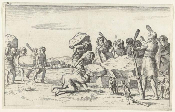Abb. 2: Lange glaubte man, dass nur Riesen in der Lage seien, Hünengräber zu bauen. Picardt 1660.
