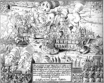 Abb. 2: Niemand scheint diesem Höllenfeuer entkommen zu können, welches um den 20. Mai 1631 auf Magdeburg niederging.  Daniel Mannasser, Ware Contrafactur der Statt Magdenburg, wie dieselbe [...] im Jahr 1631. den 20. May deß Morgens umb 7. uhr mit Sturmb eroberet und eingenommen worden Augspurg: Mannasser, 1631. Daniel Manasser, Public domain, via Wikimedia Commons.