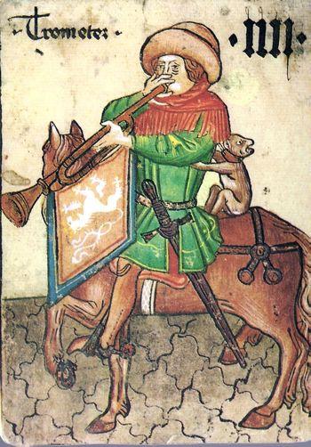 Abb. 10: Böhmischer Trompeter, aus dem Ambacher Hofämterspiel von 1460. © Kunstkammer Kunsthistorisches Museum Wien.