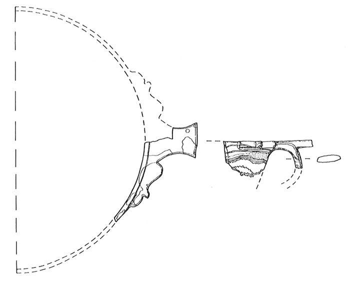 Abb. 3: Zeichnung des Gefäßfragmentes aus Grab 21 von Nebra. Becker 1991, Abb. 1.
