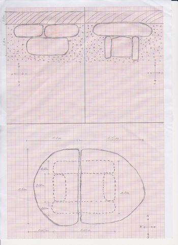 Abb. 3: Rekonstruktionsversuch des Steinkistengrabes von Köchstedt. Skizze nach Mike Leske.