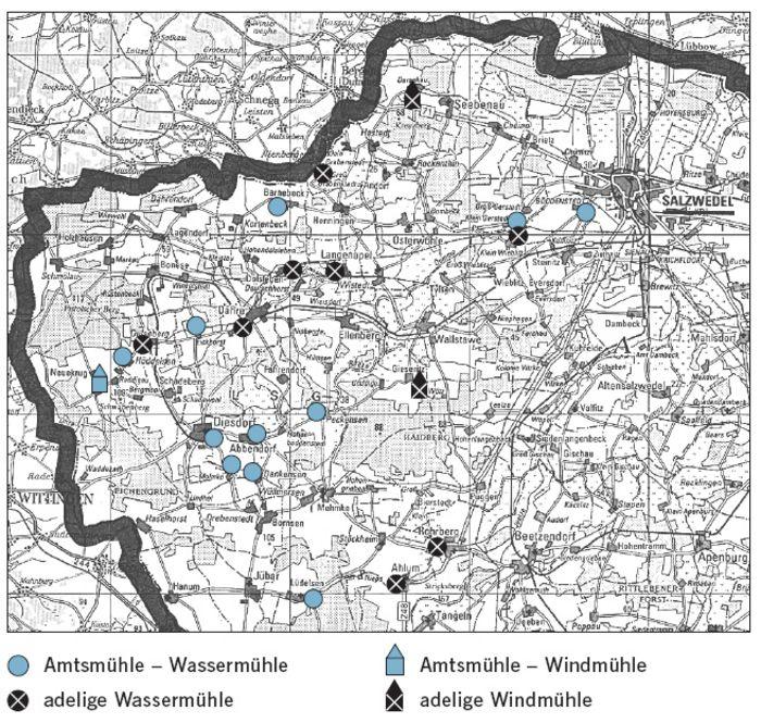 Abb. 15: Wasser- und Windmühlen im Einzugsbereich des Amtes Diesdorf 1774. © Landesamt für Denkmalpflege und Archäologie Sachsen-Anhalt, Brigitte Parsche.