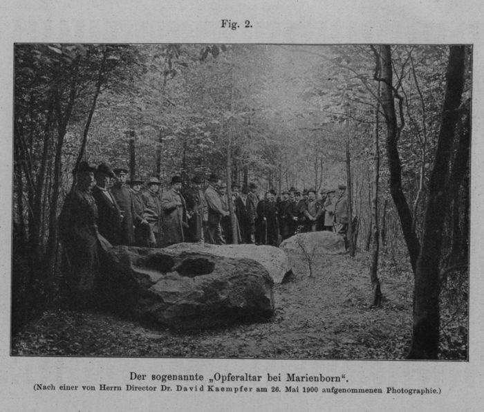 Abb. 24: Besuch der Opfersteine anlässliche einer Wanderung am 26.5.1900. Aus: Wilhelm Blasius, Vorgeschichtliche Denkmäler zwischen Helmstedt, Harbke und Marienborn. Braunschweig 1901, Fig. 2.