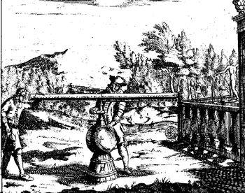 Abb. 7: Das Vakuum-Fernrohr. Otto von Guericke: »Ottonis de Guericke Experimenta Nova (ut vocantur) Magdeburgica De Vacuuo Spatio«, Amsterdam 1772.