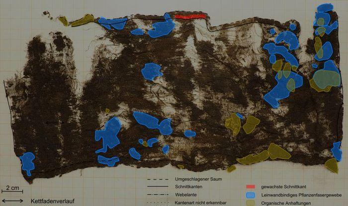 Abb. 5: Kartierung der Verarbeitungsmerkmale des Gesichtsschleiers (Geweberückseite zeigt nach oben). © Landesamt für Denkmalpflege und Archäologie Sachsen-Anhalt, Friederike Leibe.