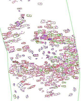 Abb. 7: Grabungsplan, Ausschnitt des Gräberfeldes im Nordteil der Fläche. © Landesamt für Denkmalpflege und Archäologie Sachsen-Anhalt.