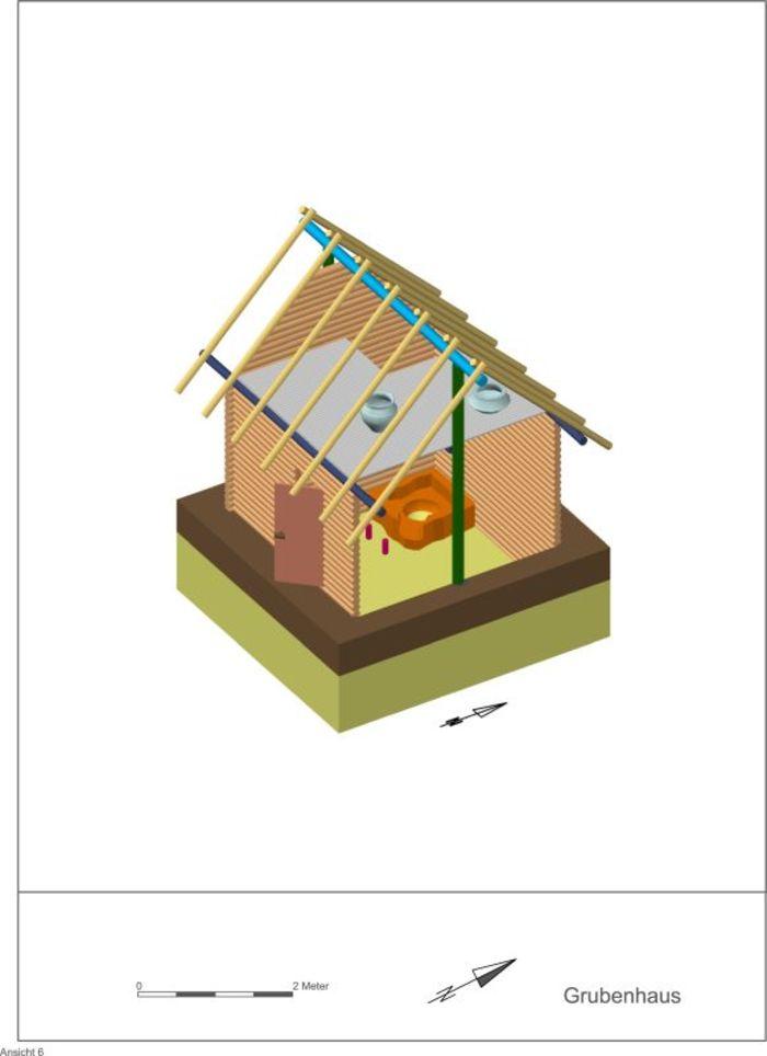 Abb. 12: Rekonstruktion eines mittelslawischen Grubenhauses vom 2+1-Pfostentyp mit zwei Firstpfosten, einem Einstiegspfosten und einer festen Feuerstelle. © Landesamt für Denkmalpflege und Archäologie Sachsen-Anhalt, A. Hinz.