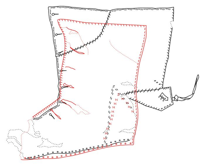Abb. 5: Vergleich der beiden Schuhoberleder; rot: Halle- Spitze (gespiegelt), schwarz: Salzwedel. © Landesamt für Denkmalpflege und Archäologie Sachsen-Anhalt, Heiko Breuer.