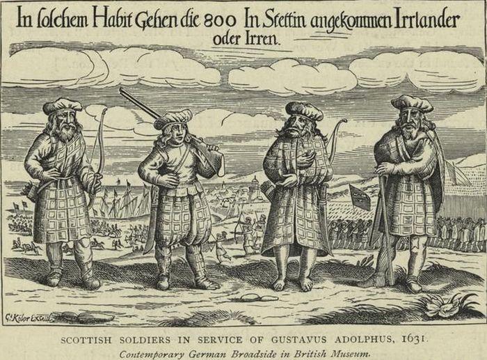 Abb. 13: Iren und Schotten. In Nürnberg gedrucktes zeitgenössisches Flugblatt von 1631 - Reprint von 1893 bis 1895. (http://commons.wikimedia.org/wiki/File:Scottish_soldiers_in_service_of_Gustavus_Adolphus,_1631.jpeg; zuletzt abgerufen am 30.06.2011).