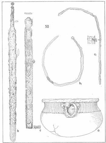 Abb. 2: Zeichnung von Kessel, Schwert und Schwertscheide aus Grab 50. Schmidt/Nitzschke 1989, 114, Tafel 14.