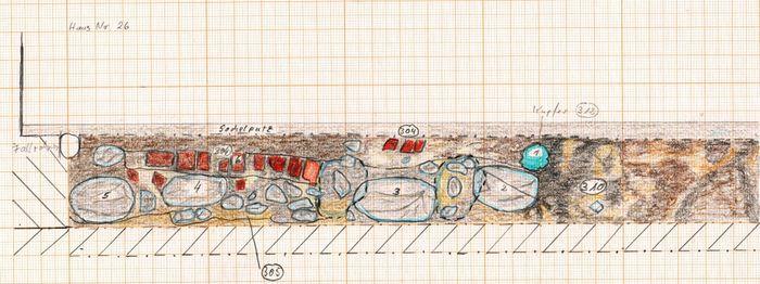 Abb. 3: Ausschnitt aus der Planumszeichnung 34 im Maßstab 1 : 20 mit dem Befund 312 (1). © Landesamt für Denkmalpflege und Archäologie Sachsen-Anhalt, Sofia Streißenberger.