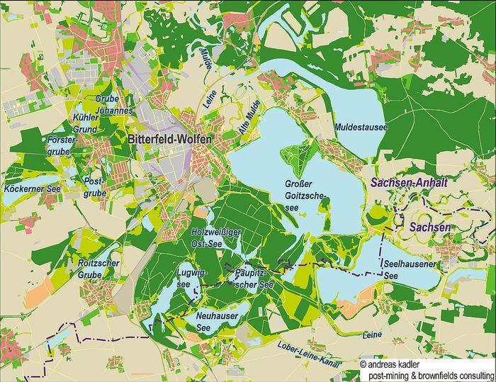 Abb. 3: Der Landschaftspark Goit(z)sche im Jahr 2015; Kartenausschnitt. © A. Kadler, post-mining & brownfields consulting, Berlin.