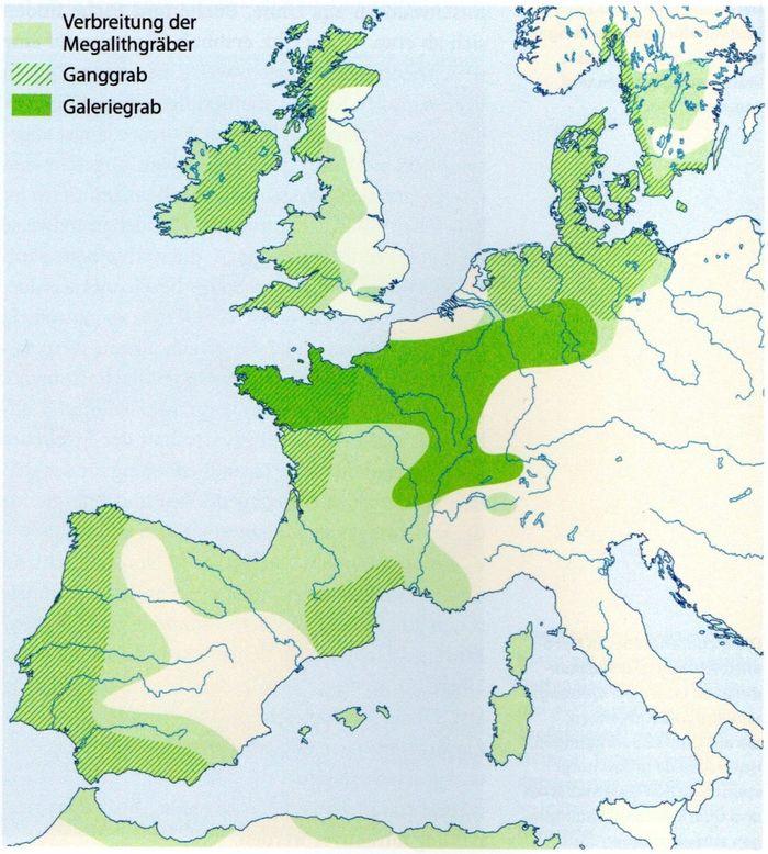 Abb. 1: Verbreitung der Großsteingräber in Europa. Müller 2017.