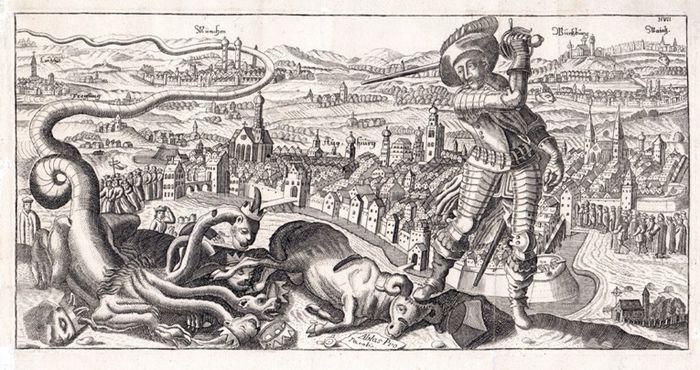 Abb. 3: Flugblatt: Kupferstich, etwa 2. Hälfte des 17.Jahrhunderts. Dargestellt wird der siegreiche Schwedenkönig nach der Eroberung der Stadt Augsburg. Vor ihm der gekrönte und erschlagene siebenköpfige Drache und ein Widder mit dem Barret auf dem Kopf.