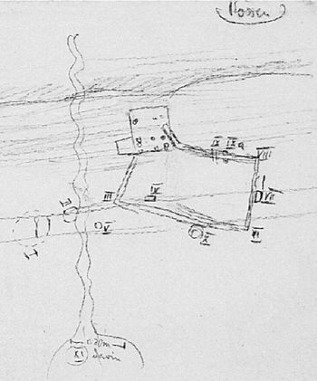 Abb. 2: Rechteckige Grabanlage der Baalberger Kultur mit den Stellen I bis XI. Von den fünf Bestattungen sind lediglich die Gräber IV (Schnurkeramik) und VII (Salzmünder Kultur) verzeichnet. Ortsakte Rössen, OA-ID 2011, Blatt 15. © Landesamt für Denkmalpflege und Archäologie Sachsen-Anhalt, Archiv.