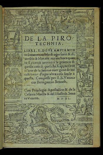 Abb. 6: Frontispiz der »Pirotechnia« (1540). Science History Institute, Public domain, via Wikimedia Commons.