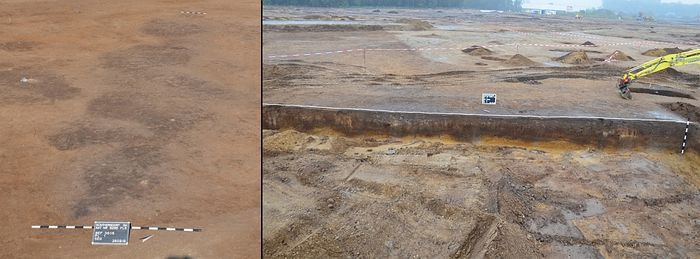 Abb. 2: Günthersdorf, Saalekreis. Die hausbegleitende Längsgrube im ersten Planum (links) und im Längsprofil (rechts). © Landesamt für Denkmalpflege und Archäologie Sachsen-Anhalt, B. Lemmer.