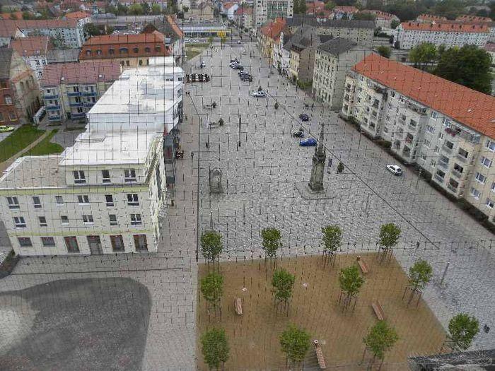 Abb.8: Heutiger Zerbster Markt vom Südturm der Nikolaikirche fotografiert. © Landesamt für Denkmalpflege und Archäologie Sachsen-Anhalt, Frank Besener.
