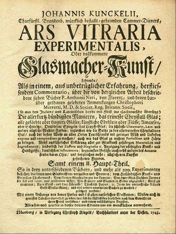 Abb. 4: Deckblatt der »Arts vitraria« von Johannes Kunckel.