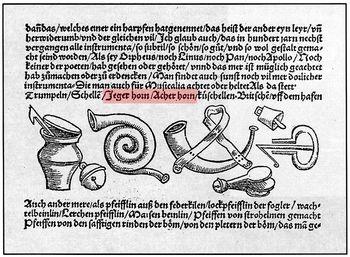 Abb. 9: Darstellung »dürftiger« Instrumente mit einem gewundenen Horn bei Sebastian Virdung, 1511. Tamboer 1999, 68.
