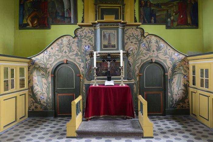 Abb. 1: Kanzelalter in der Dorfkirche in Schmirma. © Landesamt für Denkmalpflege und Archäologie Sachsen-Anhalt, Gunnar Preuß.
