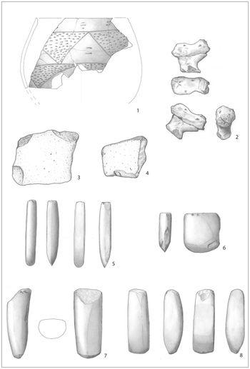 Abb. 3: Auf Abbildung 3 sind neben der zoomorphen Vollplastik (2) die Funde aus der hausbegleitenden Längsgrube (3605) in der Umzeichnung zu sehen. Neben mindestens einem verzierten Kumpf (1) und zwei Mahlsteinen (3, 4) wurden auch vier Felsgesteingeräte in Form von Dechseln (5, 7, 8) und einem Beil (6) geborgen. © Landesamt für Denkmalpflege und Archäologie Sachsen-Anhalt, Umzeichnungen: K. Walter / S. Scheffler, Tafel: Madeline Fröhlich.