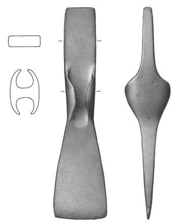 Abb. 5: Zeichnung des Lappenbeils. © Landesamt für Denkmalpflege und Archäologie Sachsen-Anhalt, S. Belizki, C. Gembalski.