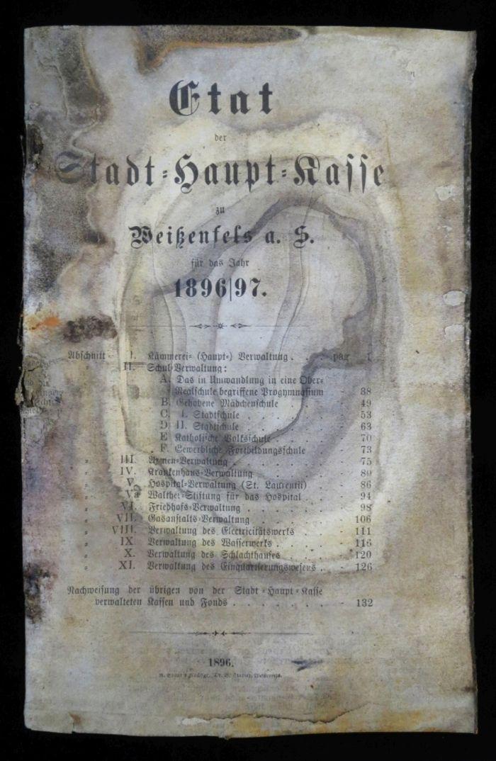 Abb. 11: Etat der Stadt-Haupt-Kasse zu Weißenfels für das Jahr 1896/97. © Landesamt für Denkmalpflege und Archäologie Sachsen-Anhalt, Heiko Breuer.